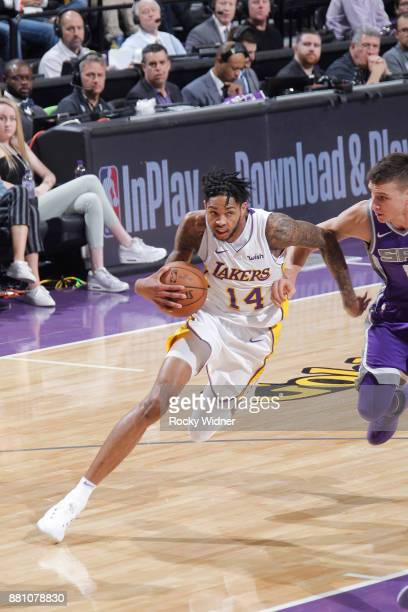 Brandon Ingram of the Los Angeles Lakers drives against the Sacramento Kings on November 22 2017 at Golden 1 Center in Sacramento California NOTE TO...