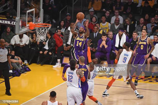 Brandon Ingram of the Los Angeles Lakers drives through the paint during the game against Oklahoma City Thunder on January 2 2019 at STAPLES Center...