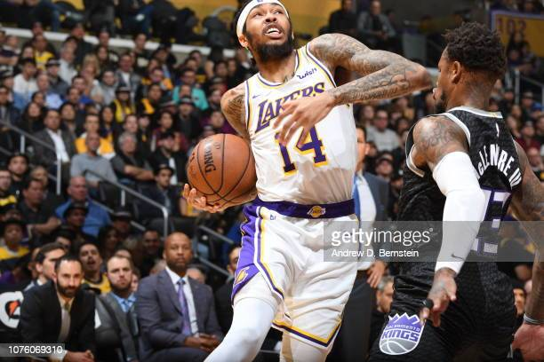 Brandon Ingram of the Los Angeles Lakers drives to the basket against the Sacramento Kings on December 30 2018 at STAPLES Center in Los Angeles...