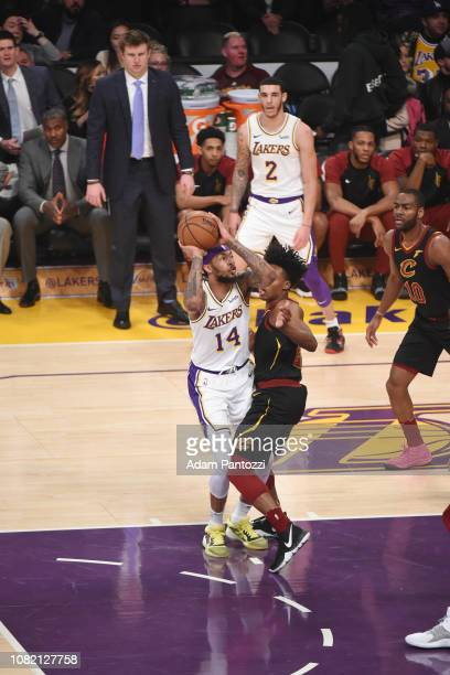 Brandon Ingram of the Los Angeles Lakers drives to the basket against the Cleveland Cavaliers on January 13 2019 at STAPLES Center in Los Angeles...