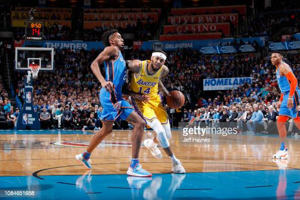 Brandon Ingram of the Los Angeles Lakers drives to the basket against the Oklahoma City Thunder on January 17 2019 at Chesapeake Energy Arena in...
