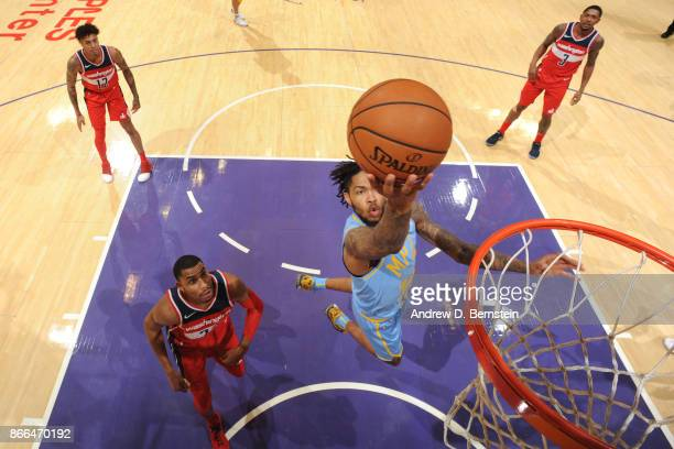Brandon Ingram of the Los Angeles Lakers drives to the basket against the Washington Wizards on October 25, 2017 at STAPLES Center in Los Angeles,...