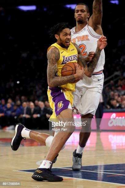 Brandon Ingram of the Los Angeles Lakers drives to the basket against Lance Thomas of the New York Knicks in the first quarter during their game at...