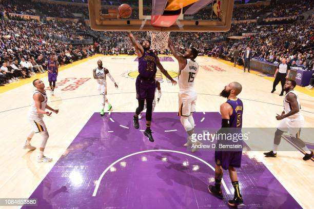 Brandon Ingram of the Los Angeles Lakers drives to the basket during the game against the Utah Jazz on November 23 2018 at STAPLES Center in Los...