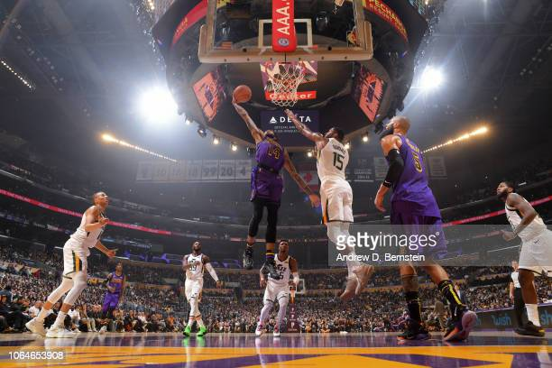 Brandon Ingram of the Los Angeles Lakers drives to the basket during the game against Derrick Favors of the Utah Jazz on November 23 2018 at STAPLES...