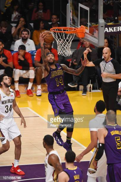 Brandon Ingram of the Los Angeles Lakers drives to the basket during the game against the New Orleans Pelicans on December 21 2018 at STAPLES Center...