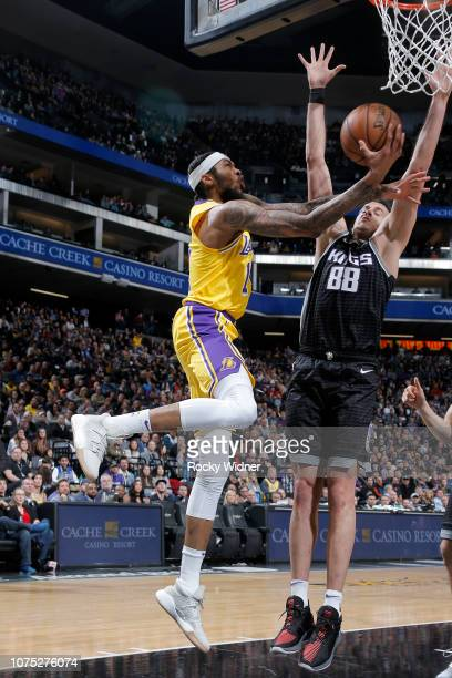 Brandon Ingram of the Los Angeles Lakers drives to the basket during the game against the Sacramento Kings on December 27 2018 at Golden 1 Center in...