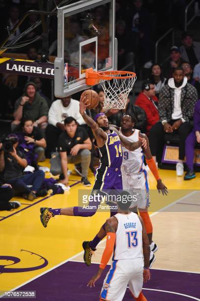Brandon Ingram of the Los Angeles Lakers drives to the basket during the game against Jerami Grant of the Oklahoma City Thunder on January 2 2019 at...