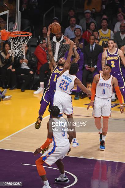 Brandon Ingram of the Los Angeles Lakers drives to the basket during the game against Terrance Ferguson of the Oklahoma City Thunder on January 2...