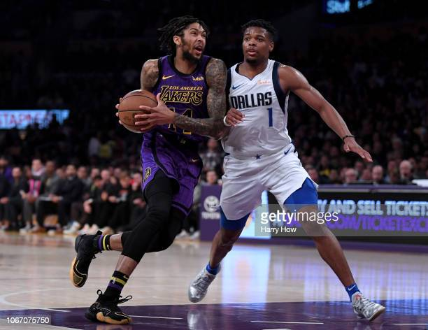 Brandon Ingram of the Los Angeles Lakers drives to the basket on Dennis Smith Jr #1 of the Dallas Mavericks during a 114103 Laker win at Staples...
