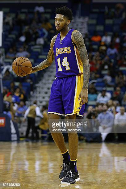 Brandon Ingram of the Los Angeles Lakers drives with the ball during the second half of a game against the New Orleans Pelicans at the Smoothie King...