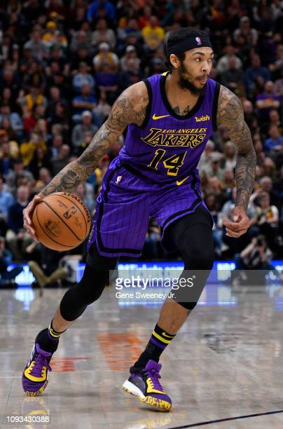 Brandon Ingram of the Los Angeles Lakers drives with the ball in a NBA game against the Utah Jazz at Vivint Smart Home Arena on January 11 2019 in...