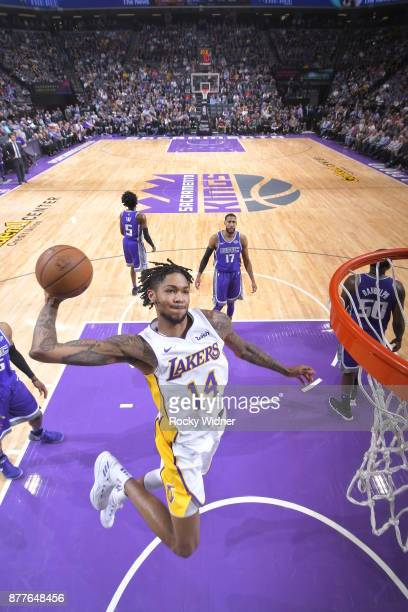 Brandon Ingram of the Los Angeles Lakers dunks the ball during the game against the Sacramento Kings on November 22 2017 at Golden 1 Center in...