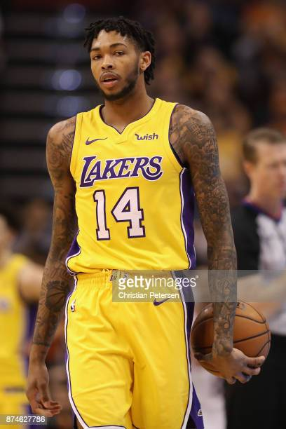 Brandon Ingram of the Los Angeles Lakers during the NBA game against the Phoenix Suns at Talking Stick Resort Arena on November 13 2017 in Phoenix...