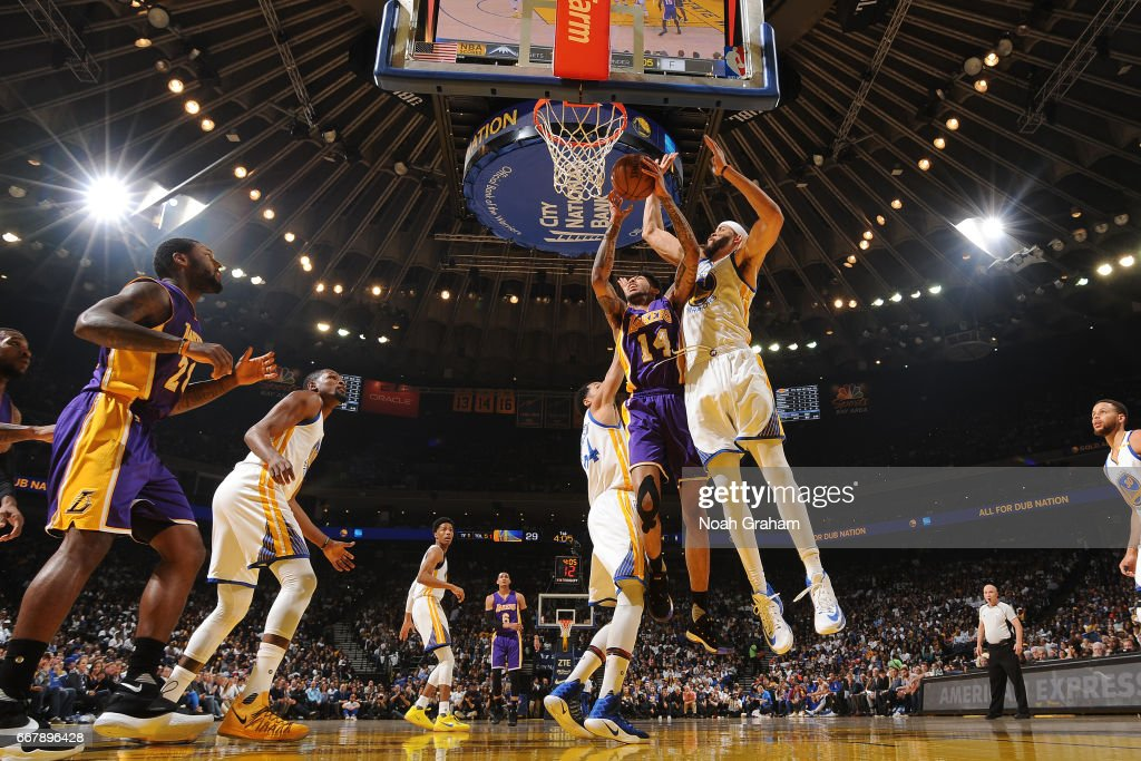 Brandon Ingram #14 of the Los Angeles Lakers goes to the basket against the Golden State Warriors on April 12, 2017 at ORACLE Arena in Oakland, California.