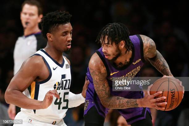 Brandon Ingram of the Los Angeles Lakers handles the ball against the Utah Jazz on November 23 2018 at the STAPLES Center in Los Angeles California...