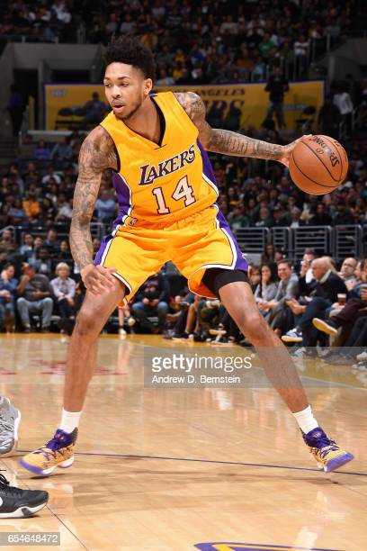 Brandon Ingram of the Los Angeles Lakers handles the ball against the Milwaukee Bucks on March 17 2017 at STAPLES Center in Los Angeles California...