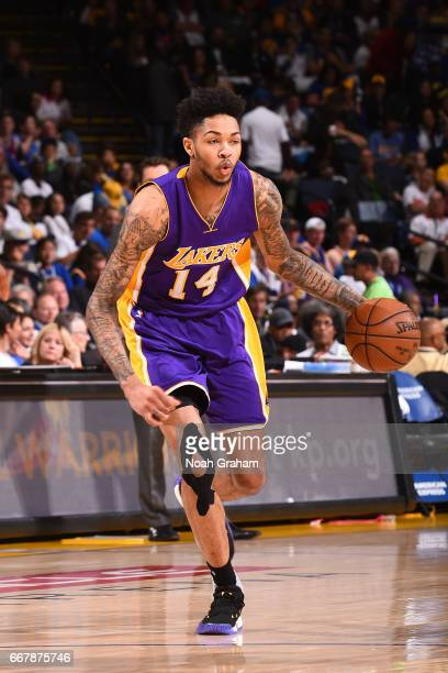 Brandon Ingram of the Los Angeles Lakers handles the ball against the Golden State Warriors on April 12 2017 at ORACLE Arena in Oakland California...