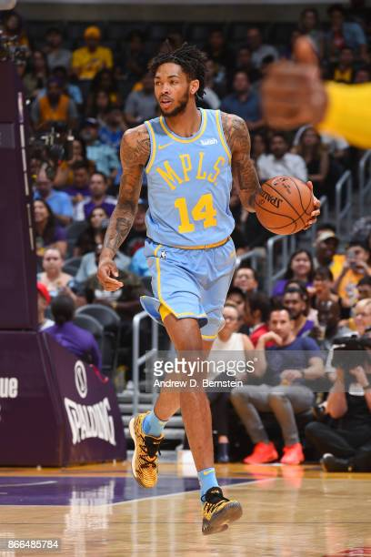 Brandon Ingram of the Los Angeles Lakers handles the ball against the Washington Wizards on October 25 2017 at STAPLES Center in Los Angeles...
