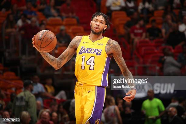Brandon Ingram of the Los Angeles Lakers handles the ball against the Miami Heat on March 1 2018 at American Airlines Arena in Miami Florida NOTE TO...