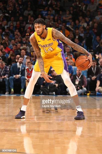 Brandon Ingram of the Los Angeles Lakers handles the ball during the game against the Oklahoma City Thunder on January 17 2018 at Chesapeake Energy...