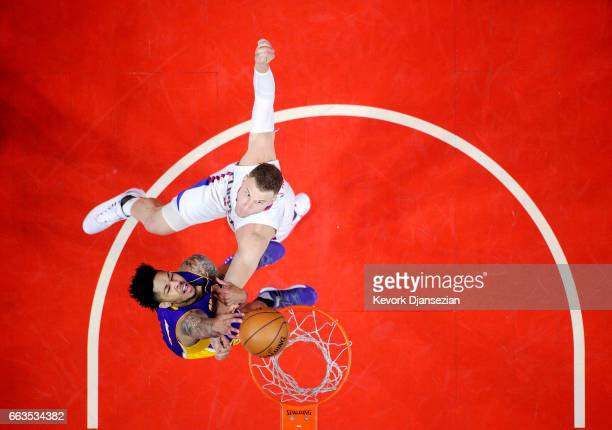 Brandon Ingram of the Los Angeles Lakers is fouled by Blake Griffin of the Los Angeles Clippers during the second half at Staples Center April 1 in...