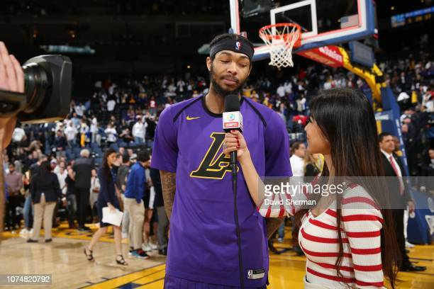 Brandon Ingram of the Los Angeles Lakers is interviewed after a game against the Golden State Warriors on December 25 2018 at ORACLE Arena in Oakland...