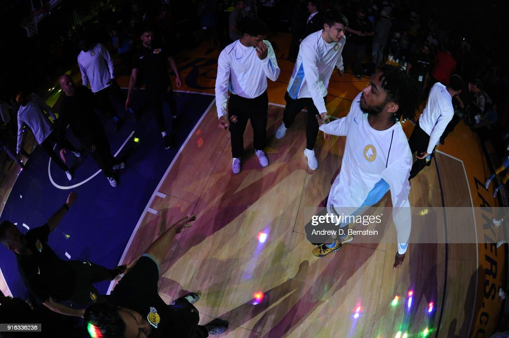 Brandon Ingram #14 of the Los Angeles Lakers is introduced prior to the game against the Washington Wizards on October 25, 2017 at STAPLES Center in Los Angeles, California.
