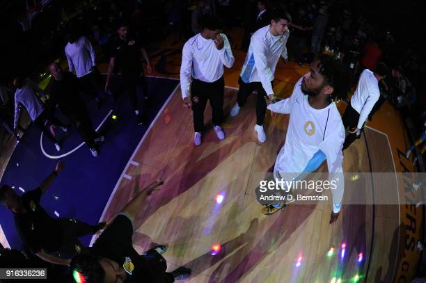 Brandon Ingram of the Los Angeles Lakers is introduced prior to the game against the Washington Wizards on October 25 2017 at STAPLES Center in Los...