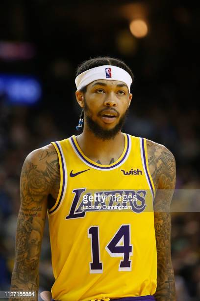 Brandon Ingram of the Los Angeles Lakers looks on during the game against the Golden State Warriors at ORACLE Arena on February 2, 2019 in Oakland,...