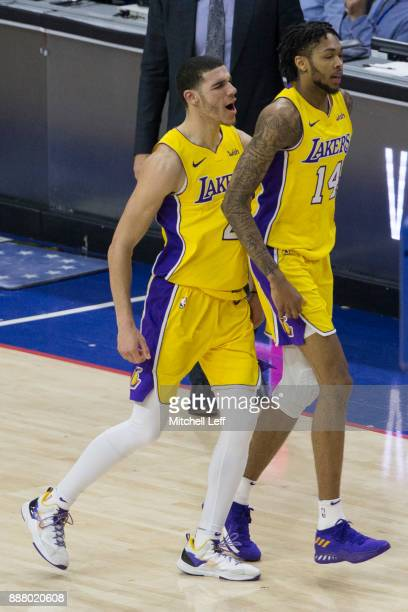 Brandon Ingram of the Los Angeles Lakers makes the game winning three point basket in the final seconds of the game against the Philadelphia 76ers...