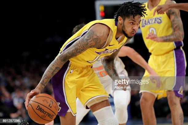 Brandon Ingram of the Los Angeles Lakers moves towards the basket in the first quarter against the New York Knicks during their game at Madison...