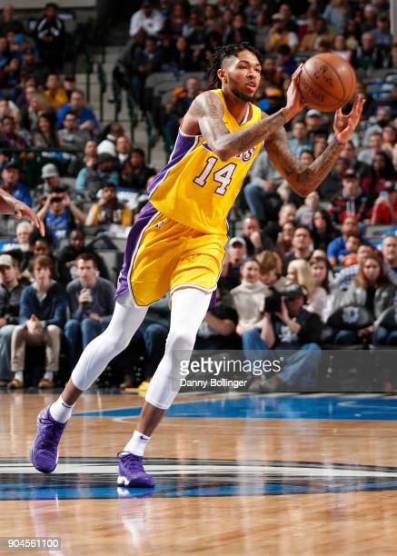 Brandon Ingram of the Los Angeles Lakers passes the ball against the Dallas Mavericks on January 13 2018 at the American Airlines Center in Dallas...