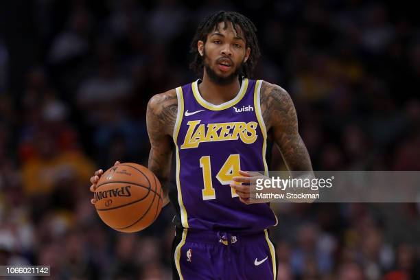 Brandon Ingram of the Los Angeles Lakers plays the Denver Nuggets at the Pepsi Center on November 27 2018 in Denver Colorado NOTE TO USER User...