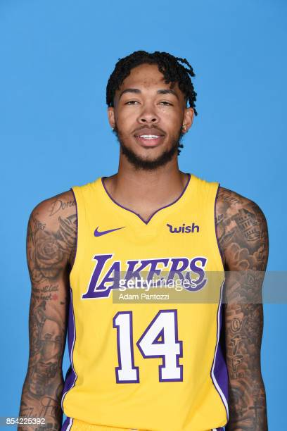 Brandon Ingram of the Los Angeles Lakers poses for a head shot during media day at UCLA Health Training Center on September 25 2017 in El Segundo...