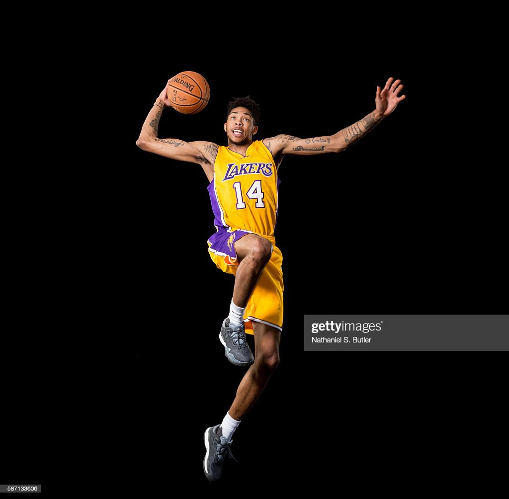 Brandon Ingram #14 of the Los Angeles Lakers poses for a portrait during the 2016 NBA rookie photo shoot on August 7, 2016 at the Madison Square Garden Training Facility in Tarrytown, New York.
