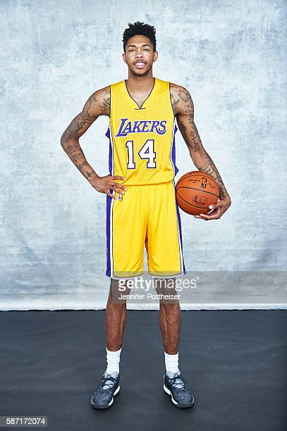 Brandon Ingram of the Los Angeles Lakers poses for a portrait during the 2016 NBA rookie photo shoot on August 7 2016 at the Madison Square Garden...