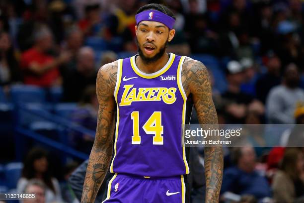 Brandon Ingram of the Los Angeles Lakers reacts during the first half against the New Orleans Pelicans at the Smoothie King Center on February 23...
