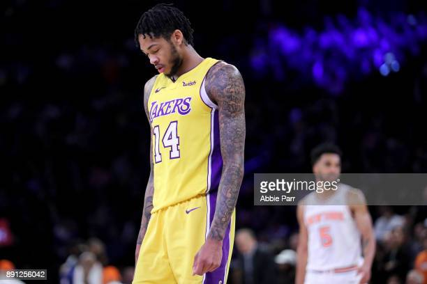 Brandon Ingram of the Los Angeles Lakers reacts in overtime against the New York Knicks during their game at Madison Square Garden on December 12...