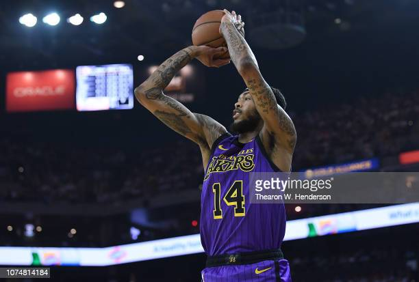 Brandon Ingram of the Los Angeles Lakers shoots a threepoint shot against the Golden State Warriors during the first half of their NBA Basketball...