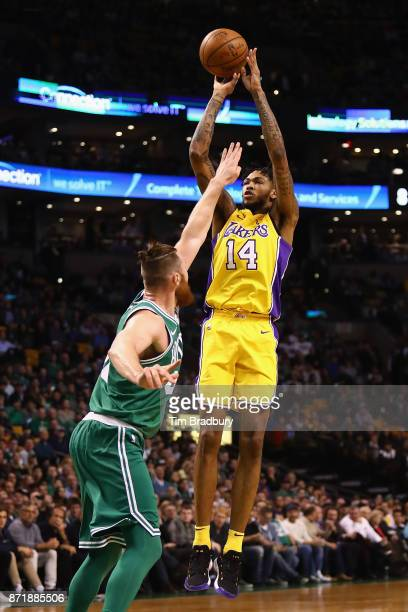 Brandon Ingram of the Los Angeles Lakers shoots the ball against Aron Baynes of the Boston Celtics during the first quarter at TD Garden on November...
