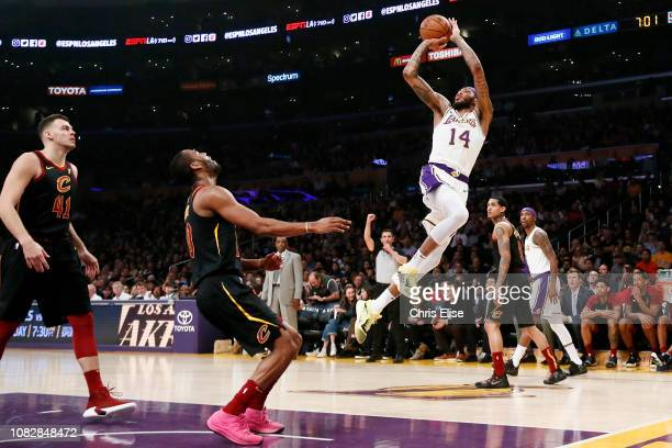 Brandon Ingram of the Los Angeles Lakers shoots the ball against the Cleveland Cavaliers on January 13 2019 at STAPLES Center in Los Angeles...