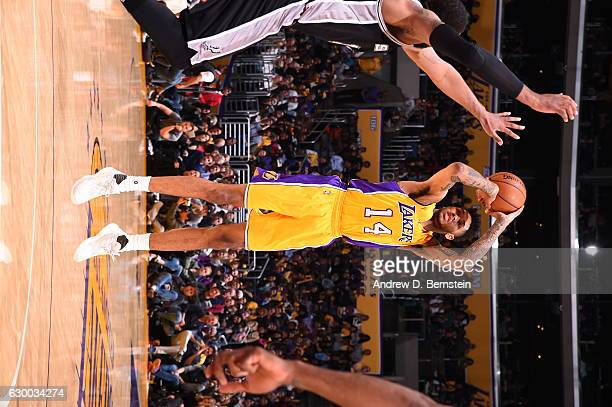 Brandon Ingram of the Los Angeles Lakers shoots the ball against the San Antonio Spurs on November 18 2016 at STAPLES Center in Los Angeles...