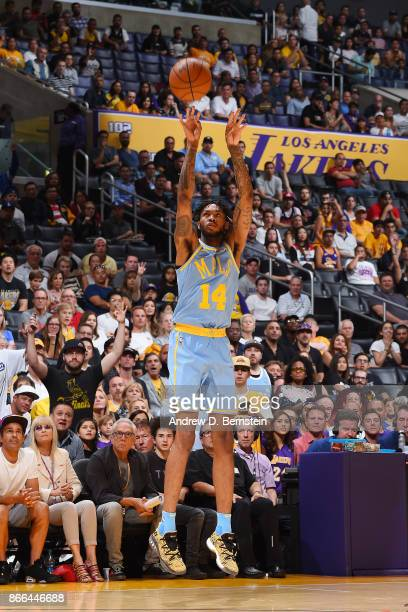 Brandon Ingram of the Los Angeles Lakers shoots the ball against the Washington Wizards on October 25 2017 at STAPLES Center in Los Angeles...