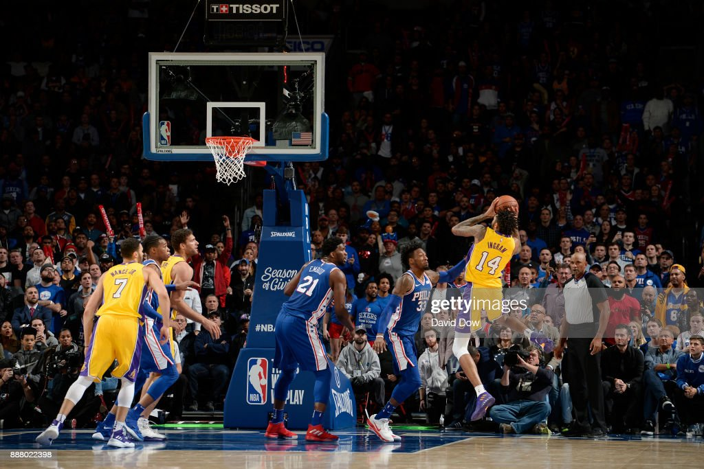 Brandon Ingram #14 of the Los Angeles Lakers shoots the ball during the game against the Philadelphia 76ers on December 7, 2017 at Wells Fargo Center in Philadelphia, Pennsylvania.