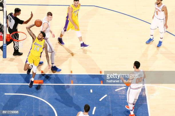 Brandon Ingram of the Los Angeles Lakers shoots the ball during the game against the New York Knicks on December 12 2017 at Madison Square Garden in...
