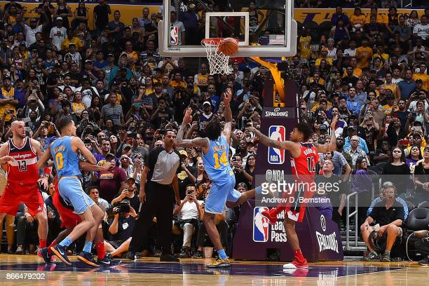 Brandon Ingram of the Los Angeles Lakers shoots the ball to tie the game against the Washington Wizards on October 25, 2017 at STAPLES Center in Los...