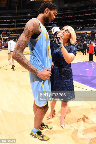 Brandon Ingram of the Los Angeles Lakers talks to ESPN reporter Doris Burke after the game against the Washington Wizards on October 25 2017 at...