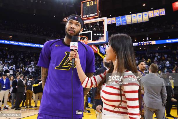 Brandon Ingram of the Los Angeles Lakers talks to the media after the game against the Golden State Warriors on December 25 2018 at ORACLE Arena in...