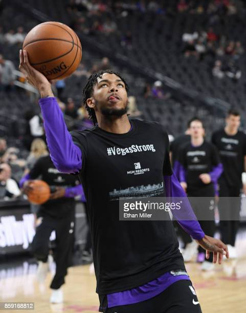 Brandon Ingram of the Los Angeles Lakers wears a #VegasStrong Tshirt during warmups to honor victims of last Sunday's mass shooting before the team's...